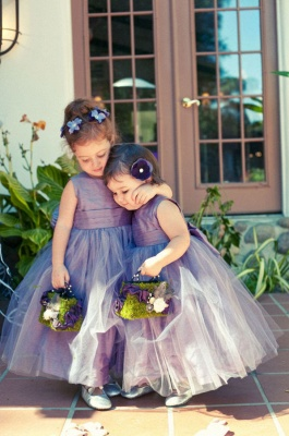 Cheap Sleeveless Floor-length Tulle Jewel Flower Girl Dress