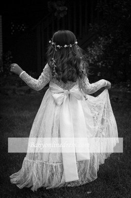 Lovely Flower Floor Length A-line Lace Long-Sleeve Jewel Flower Girl Dress with Bowknot