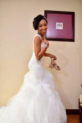Charming Mermaid Wedding Dresses | Beaded Ruffles Skirt Bridal Gowns_5