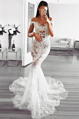 Modern Sexy Mermaid Off Shoulder Wedding Dresses | Long Sleeves Lace Appliques Bridal Gowns