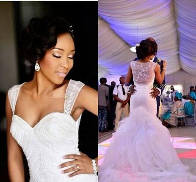 Charming Mermaid Wedding Dresses | Beaded Ruffles Skirt Bridal Gowns_3