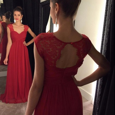 Red Lace Chiffon Floor-Length Cap-Sleeves A-line Modest Prom Dresses_3