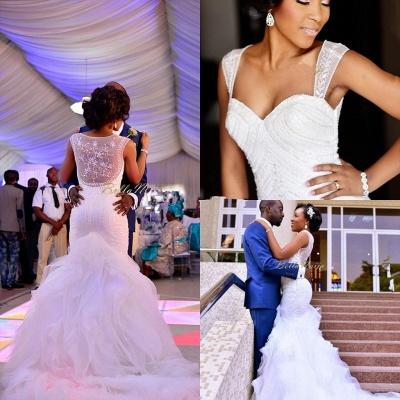 Charming Mermaid Wedding Dresses | Beaded Ruffles Skirt Bridal Gowns_6