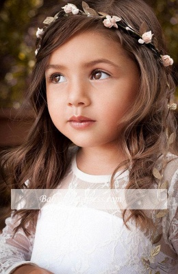 Lovely Flower Floor Length A-line Lace Long-Sleeve Jewel Flower Girl Dress with Bowknot_5