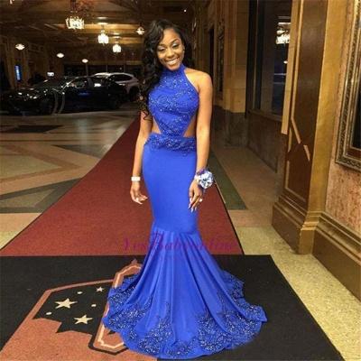 Open-Back Lace-Appliques Mermaid Royal-Blue Halter-Neck Prom Dresses_1