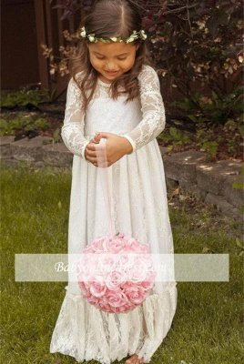 Lovely Flower Floor Length A-line Lace Long-Sleeve Jewel Flower Girl Dress with Bowknot_6