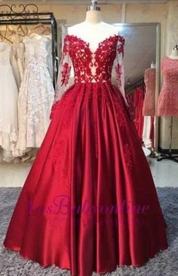 2019 Red Puffy Prom Dresses Off-the-Shoulder Long Sleeves Lace Appliques Evening Gowns_1