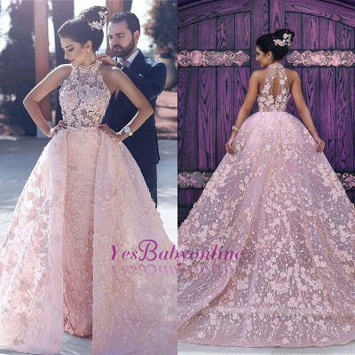 Halter Glamorous Sleeveless Lace-Appliques Pink Evening Dress_1
