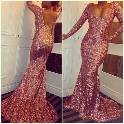 Sexy Mermaid Long-Sleeves Sequined Simple Prom Dresses_3