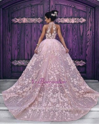 Halter Glamorous Sleeveless Lace-Appliques Pink Evening Dress_3