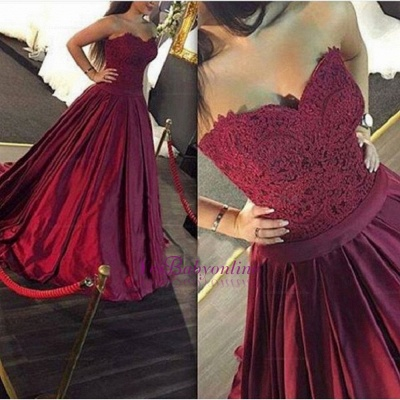 Lace-Applique Burgundy Ball-Gown Elegant Sweetheart Prom Dresses_1