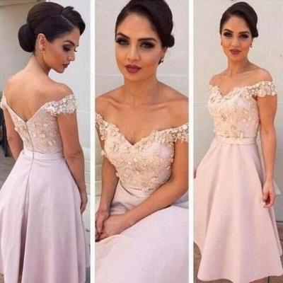 Short Lace Glamorous Off-the-Shoulder Bridesmaids Dress_3