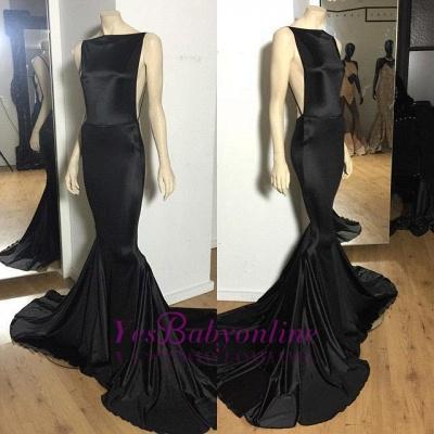 Open-Back Sexy Long Black Cheap Sexy Mermaid Court-Train Evening Dress_1