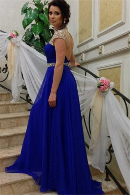 A-Line Royal-Blue High-Neck Beadings Short-Sleeves Prom Dress_3