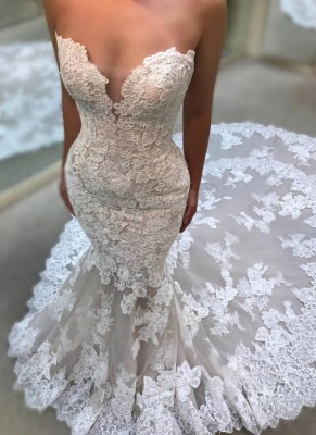 Glamorous Sweetheart Wedding Dresses | Lace Appliques Sleeveless Bridal Gowns_1