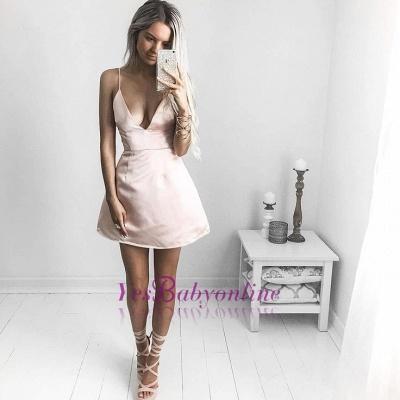 Sexy V-neck Homecoming Dresses   Spaghetti-Straps Short Cocktail Dresses_1