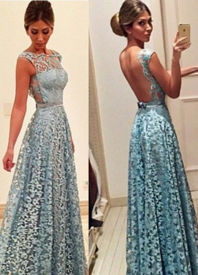 Bow Lace Newest Backless A-line Floor-length Evening Dress_3