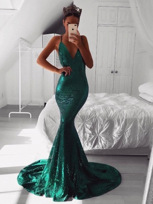 Mermaid V-Neck Sleeveless Evening Dresses | Spaghetti Straps Sweep Train Evening Gowns with Sequins_1