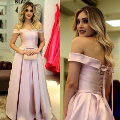 Pink Elegant Off-The-Shoulder A-Line Prom Dresses_3
