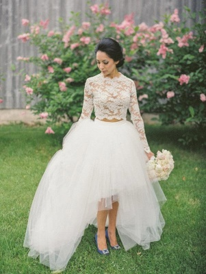 Piece Long Stunning Two Tulle Lace Appliques Sleeve Hi-Lo Wedding Dress_4