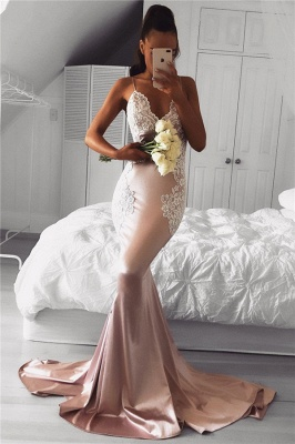 Cute Pink Mermaid Prom Dresses   Spaghettis Straps Evening Gowns with Lace Appliques_2