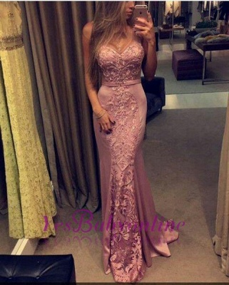 2019 Pink Mermaid Evening Gowns Lace Appliques Sleeveless Figure-flattering Prom Dresses_1