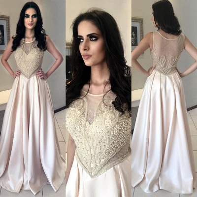 Gorgeous Pearls Long Sleeveless Scoop Prom Dress_3