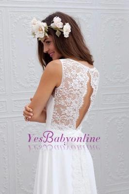 Bowknot Lace Sleeveless V-Neck Chiffon Glamorous White Wedding Dress_1