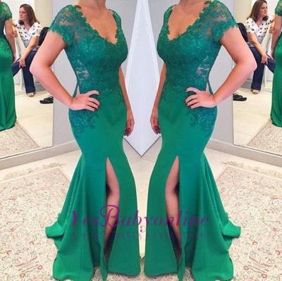 Short Lace Sleeves V-neckline Applique Mermaid Green Prom Dress_1