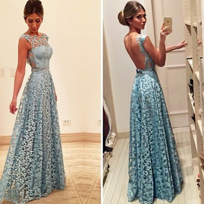 Bow Lace Newest Backless A-line Floor-length Evening Dress_2