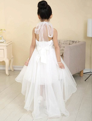 Lovely A-Line Organza Hi-Lo Halter Neck Sweep Train Flower Girl Dress_3