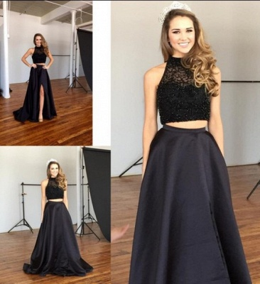Chic Two-Piece Prom Dresses | Black Beaded A-line Formal Dresses_5