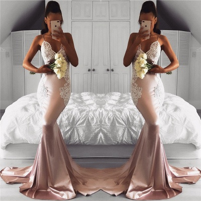 Cute Pink Mermaid Prom Dresses   Spaghettis Straps Evening Gowns with Lace Appliques_3