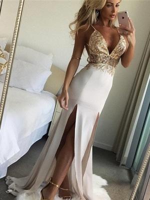 Shiny Beading Mermaid Evening Dresses | Sexy Deep V-Neck Spaghetti Straps Side Slit Long Prom Dresses_1