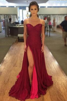 Off-The-Shoulder Side-Slit Elegant Red Ruched Evening Dresses_2