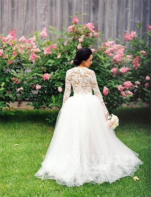 Piece Long Stunning Two Tulle Lace Appliques Sleeve Hi-Lo Wedding Dress_3