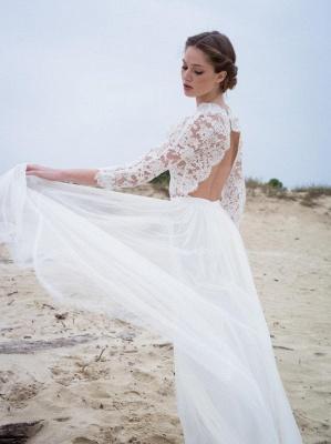 A-line Modern 3/4-Length-Sleeves Lace V-neck Simple Wedding Dress_4