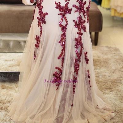 Scoop Beaded Lace-Applique Brilliant Mermaid Sleeveless  Prom Dresses_1