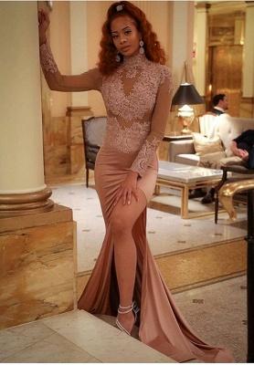 Slit Long-Sleeve High-Neck Mermaid Lace Gorgeous Prom Dress_2