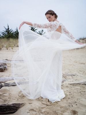 A-line Modern 3/4-Length-Sleeves Lace V-neck Simple Wedding Dress_3