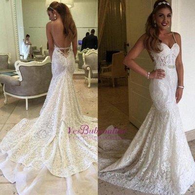Spaghetti-Straps Backless Glamorous Lace Mermaid Wedding Dresses_1