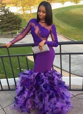 Long Purple Mermaid Prom Dresses   Long Sleeves Appliques Ruffles Evening Gowns_1