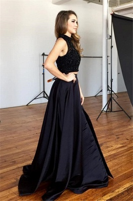 Chic Two-Piece Prom Dresses   Black Beaded A-line Formal Dresses_3