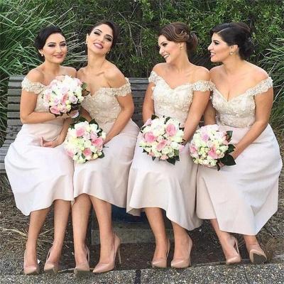 Short Lace Glamorous Off-the-Shoulder Bridesmaids Dress_4