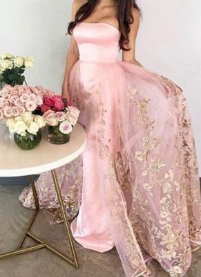 Chic Strapless Mermaid Evening Dresses   Sleeveless Long Prom Dresses_1