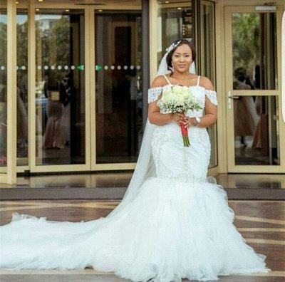 Glamorous Cap-Sleeve Appliques Plus-Size Lace Mermaid Wedding Dress_6
