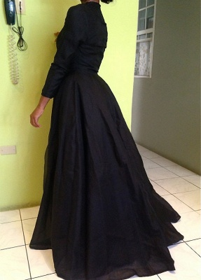 Black Two-Pieces Detachable Prom Dresses Long Sleeves Lace Sexy Party Dresses_4