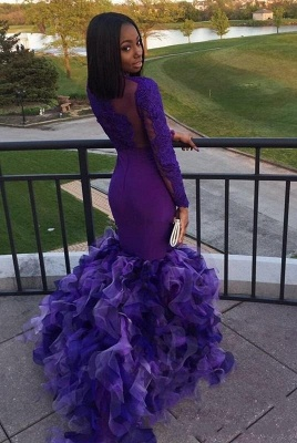 Long Purple Mermaid Prom Dresses   Long Sleeves Appliques Ruffles Evening Gowns_3