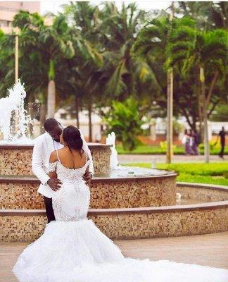 Glamorous Cap-Sleeve Appliques Plus-Size Lace Mermaid Wedding Dress_7
