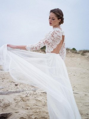 A-line Modern 3/4-Length-Sleeves Lace V-neck Simple Wedding Dress_4